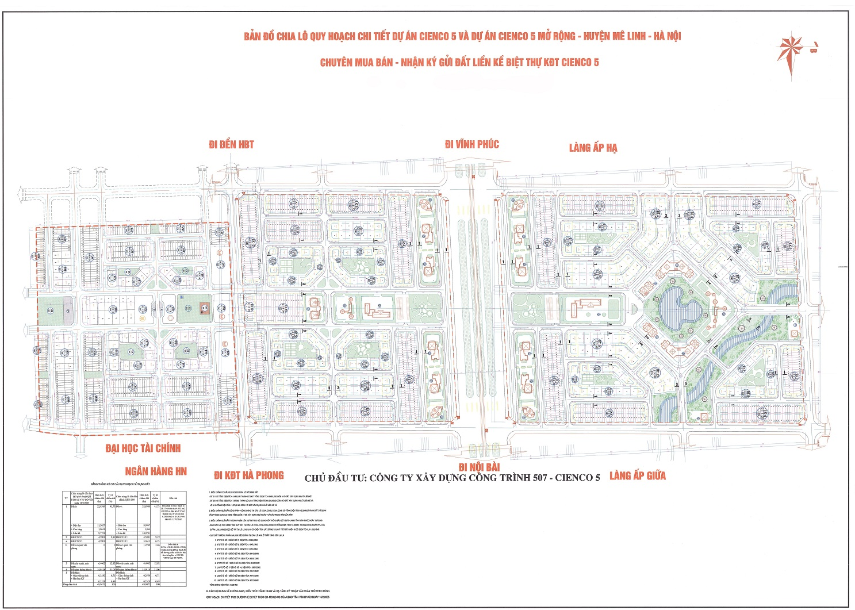 Mặt bằng phân lô dự án Cienco 5 Mê Linh Hà Nội